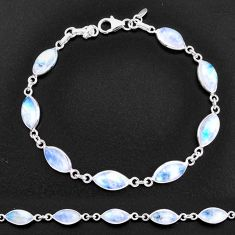 24.24cts natural rainbow moonstone 925 sterling silver tennis bracelet t14780
