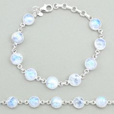 23.73cts natural rainbow moonstone 925 sterling silver tennis bracelet t19655