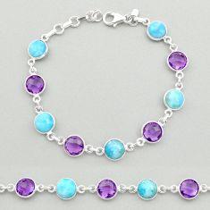 25.93cts natural rainbow moonstone amethyst 925 silver tennis bracelet t19445