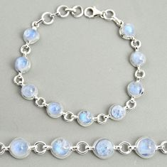 21.55cts natural rainbow moonstone round 925 silver tennis bracelet r25109