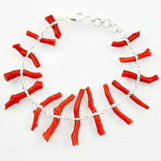 41.09cts natural red coral 925 sterling silver bracelet jewelry r33282