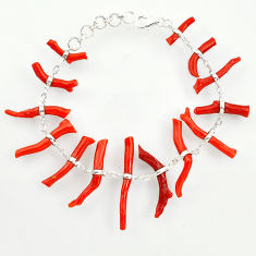 39.94cts natural red coral 925 sterling silver bracelet jewelry r33294