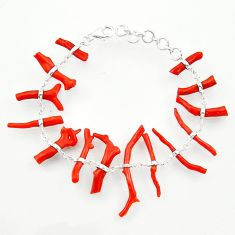 34.02cts natural red coral 925 sterling silver bracelet jewelry r33297