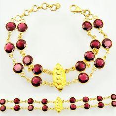 34.26cts natural red garnet 925 silver 14k gold tennis bracelet d47368