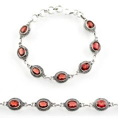 14.44cts natural red garnet 925 sterling silver tennis bracelet jewelry d44282
