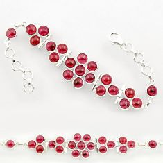 26.40cts natural red garnet 925 sterling silver tennis bracelet jewelry r27589
