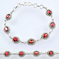 10.35cts natural red garnet 925 sterling silver tennis bracelet jewelry r54944