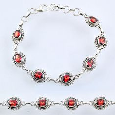10.13cts natural red garnet 925 sterling silver tennis bracelet jewelry r54946