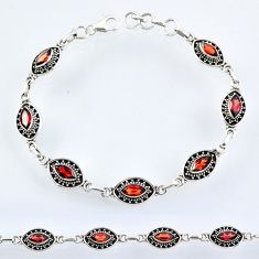 9.03cts natural red garnet 925 sterling silver tennis bracelet jewelry r54970