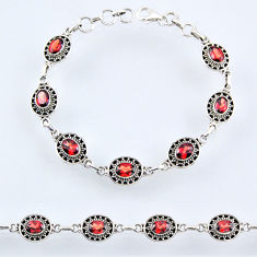 10.76cts natural red garnet 925 sterling silver tennis bracelet jewelry r54972