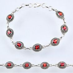 10.46cts natural red garnet 925 sterling silver tennis bracelet jewelry r54984