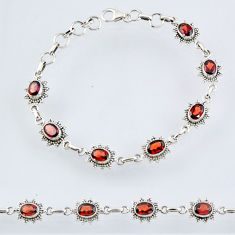 11.11cts natural red garnet 925 sterling silver tennis bracelet jewelry r55001