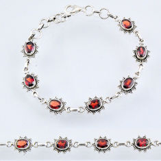 11.36cts natural red garnet 925 sterling silver tennis bracelet jewelry r55003