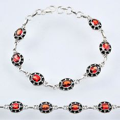 11.36cts natural red garnet 925 sterling silver tennis bracelet jewelry r55032