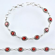 11.32cts natural red garnet 925 sterling silver tennis bracelet jewelry r55046