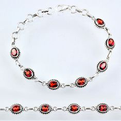 11.38cts natural red garnet 925 sterling silver tennis bracelet jewelry r55047