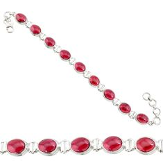 37.88cts natural red garnet 925 sterling silver tennis bracelet jewelry r84241