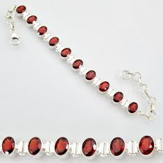 22.04cts natural red garnet 925 sterling silver tennis bracelet jewelry r87072