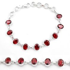 18.98cts natural red garnet 925 sterling silver tennis bracelet jewelry t4583