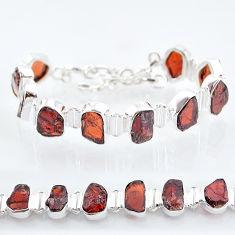 39.36cts natural red garnet raw 925 sterling silver tennis bracelet t6701