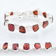 38.46cts natural red garnet raw 925 sterling silver tennis bracelet t6702