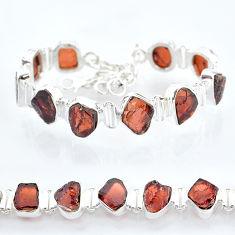 37.47cts natural red garnet raw 925 sterling silver tennis bracelet t6705