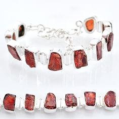 41.87cts natural red garnet raw 925 sterling silver tennis bracelet t6706
