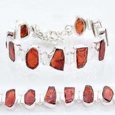 42.83cts natural red garnet raw 925 sterling silver tennis bracelet t6707