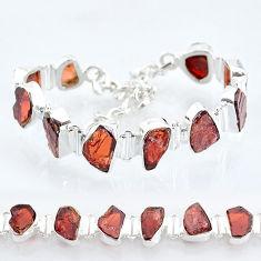 37.47cts natural red garnet raw 925 sterling silver tennis bracelet t6709