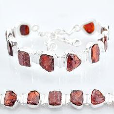 40.17cts natural red garnet raw 925 sterling silver tennis bracelet t6710