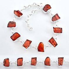 34.06cts natural red garnet raw 925 sterling silver tennis bracelet t7771