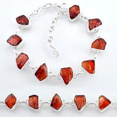 33.46cts natural red garnet raw 925 sterling silver tennis bracelet t7773