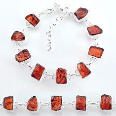 33.59cts natural red garnet raw 925 sterling silver tennis bracelet t7775