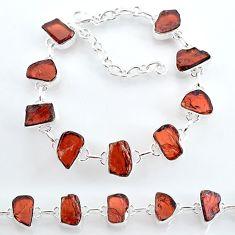 34.43cts natural red garnet raw 925 sterling silver tennis bracelet t7777
