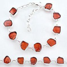 30.87cts natural red garnet raw 925 sterling silver tennis bracelet t7779