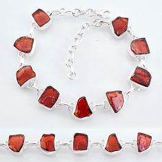 34.06cts natural red garnet raw 925 sterling silver tennis bracelet t7780