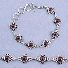 15.42cts natural red garnet round 925 sterling silver bracelet jewelry t8462