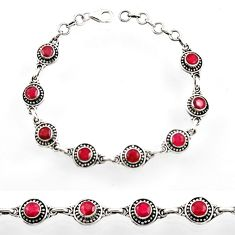 Clearance Sale- 6.95cts natural red ruby 925 sterling silver tennis bracelet jewelry d44501