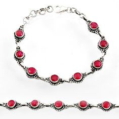 Clearance Sale- 6.48cts natural red ruby 925 sterling silver tennis bracelet jewelry d44502