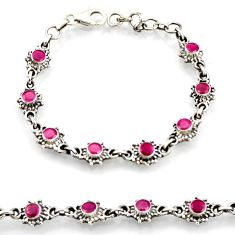 4.21cts natural red ruby 925 sterling silver tennis bracelet jewelry d45878