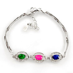 7.23cts natural red ruby emerald 925 sterling silver bracelet jewelry c26233