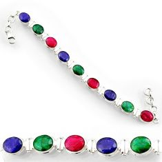 35.89cts natural red ruby emerald 925 sterling silver tennis bracelet d44325