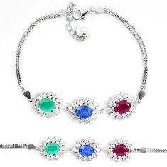 Natural red ruby green emerald blue sapphire 925 silver tennis bracelet c19629