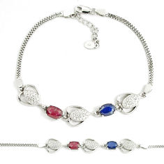 7.33cts natural red ruby sapphire 925 sterling silver tennis bracelet c19777