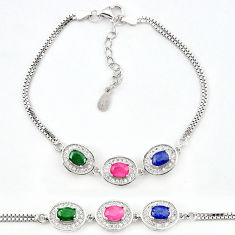 Natural red ruby sapphire 925 sterling silver tennis bracelet jewelry c19633