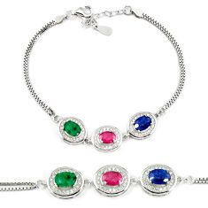 Natural red ruby sapphire 925 sterling silver tennis bracelet jewelry c19645