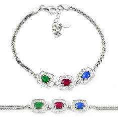 Natural red ruby sapphire 925 sterling silver tennis bracelet jewelry c25921