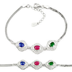 Natural red ruby sapphire 925 sterling silver tennis bracelet jewelry c25922