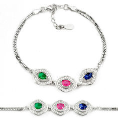Natural red ruby sapphire 925 sterling silver tennis bracelet jewelry c25931