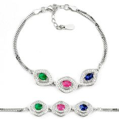 Natural red ruby sapphire 925 sterling silver tennis bracelet jewelry c25932